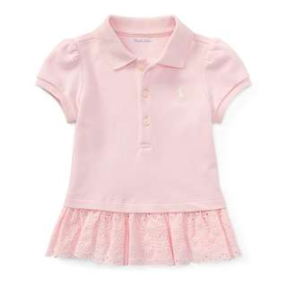Ralph Lauren pink polo eyelet dress with bloomer