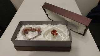 精美水晶玻璃(心形)花蓋首飾盒