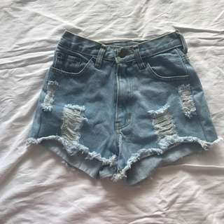 High-waisted Light Blue Denim Shorts