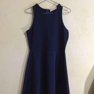GTWFAB (SM Dept.) Sleeveless Blue Neoprene Fit and Flare Dress