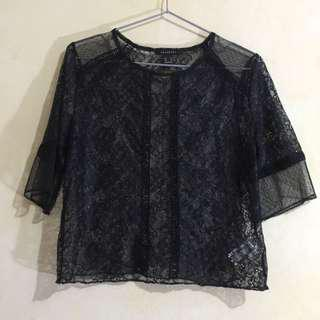 REVAMPED See-through/Sheer Black Lace Cover-up Top
