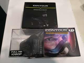 Contour HD (like GoPro) + spare batt + windshield mount