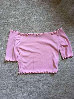 Ribbed Pink Off shoulder crop top