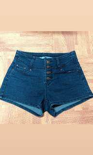 深藍高腰牛仔短褲