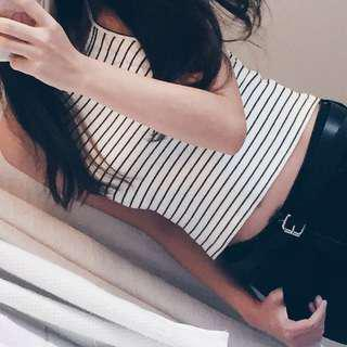 Sixty Eight Striped Halter Top