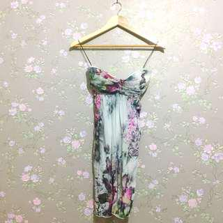 Dress bustier bunga
