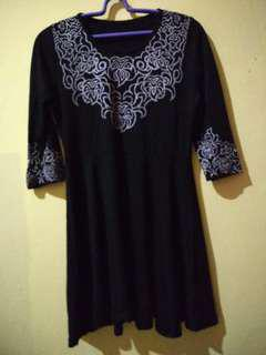 Dress hitam bordir printing