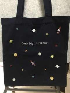 韓國 dear my universe 太空 刺繡 布袋 tote bag