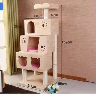 (New!) big pine wood cat tree scratch pole house bed