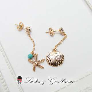 可改夾式<Ladies & gentleman>不對稱水鑽海洋風海星貝殼穿式耳環
