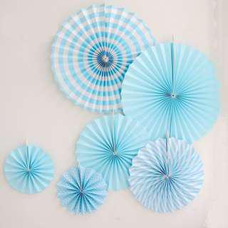 BLUE Paper Folding Fans Hanging Paper Fan Birthday Party Wedding Decoration
