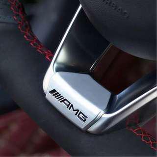 🚚 AMG 賓士方向盤裝飾貼標新E級新C級A級B級W205 CLS CLA GLC GLE w204 c300 方向盤貼
