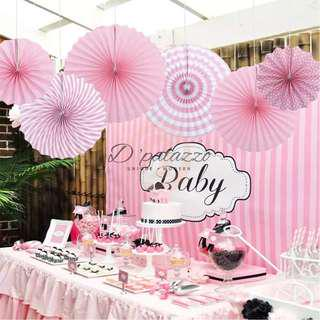 Paper Folding Fans Hanging Paper Fan Birthday Party Wedding Decoration (Pink)