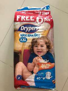 Drypers Wee Wee Dry XXL (46 x2 + extras = 2.5 packets)