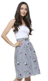 Cute Casual Sweet birds (cranes) striped skirts