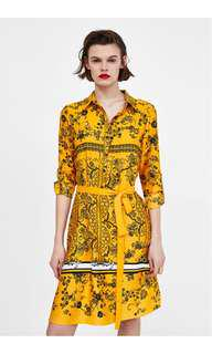 Brand New Zara Printed Shirt Dress