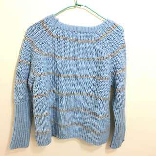 🚚 藍灰條紋針織衣