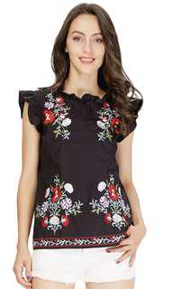 Embroidery Sweet Ruffles Floral Top