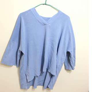 🚚 水藍前短後長衣