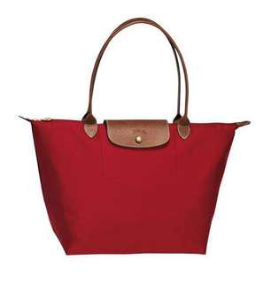 💯 Authentic Red Longchamp Le Pliage Nylon Medium Tote Bag with Long Handle