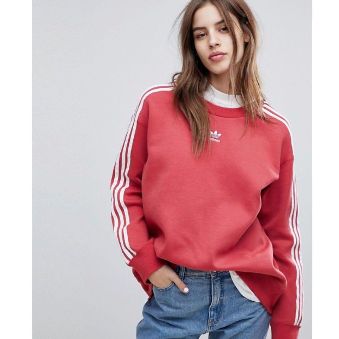 47c7cb4b4b6 Adidas Originals Adicolor Three Stripe Sweatshirt In Red, Women's ...