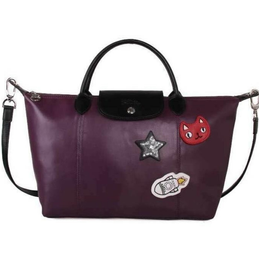 Authentic Quality Longchamp Neo with Patches Tote Bag Shoulder Bag Sling Bag  Crossbody Bag Water Proof from Vietnam Medium Size Women s Bag PLUM 14c559358804e