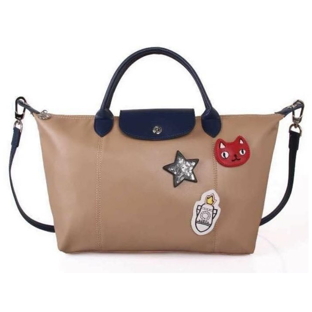 ddaf4e3e2274 Authentic Quality Longchamp Neo with Patches Tote Bag Shoulder Bag Sling Bag  Crossbody Bag Water Proof from Vietnam Medium Size Women s Bag TAN