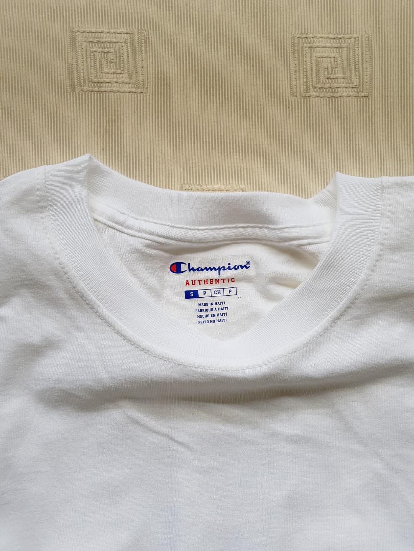 fd537c4df Champion Basic Tee (WHITE & NAVY), Men's Fashion, Clothes, Tops on ...