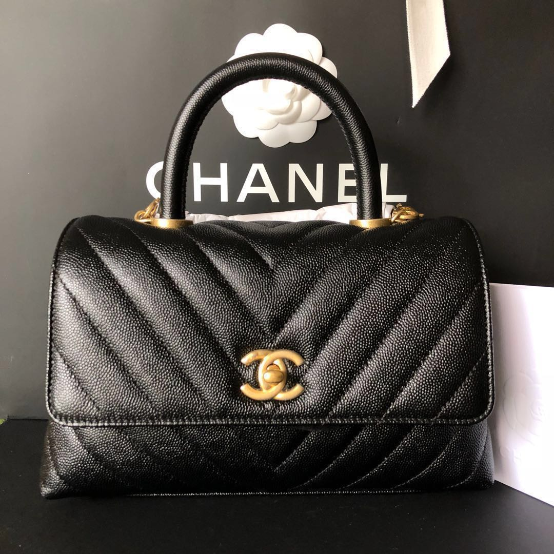 5753e8a26733 Chanel Mini Coco Handle Flap Bag Black Chevron Caviar Leather Gold  Hardware, Luxury, Bags & Wallets, Handbags on Carousell