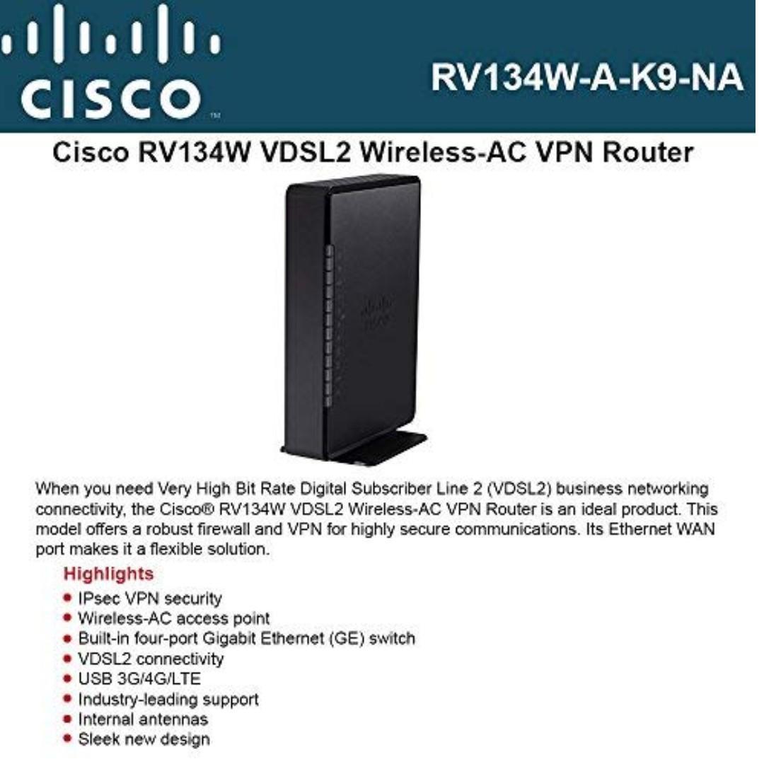 Cisco RV134W Dual WAN VDSL2 Wireless-AC VPN Gigabit Router