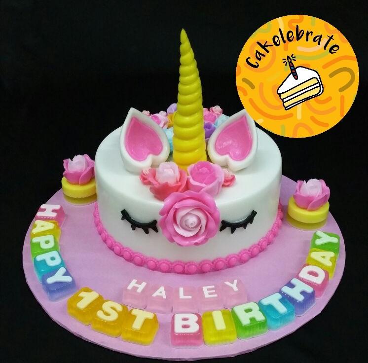 Customised 7 Unicorn Jelly Birthday Cake Food Drinks Baked