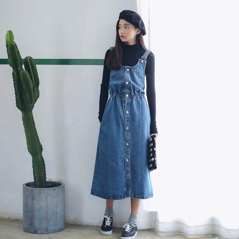 eca04f2c6 Denim Blue Coloured Buttons Down Korean Style Overall Dress, Women's ...