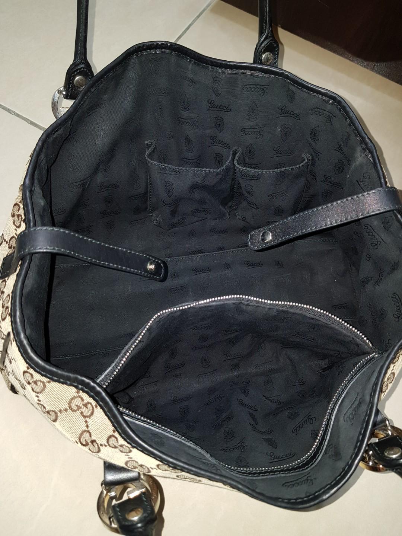 GUCCI 真品 經典緹花 雙G金屬 肩背包 購物包