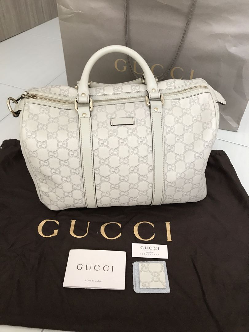 Gucci Ivory Guccissima Leather Joy Boston Bag 4fdc21d2be0e7