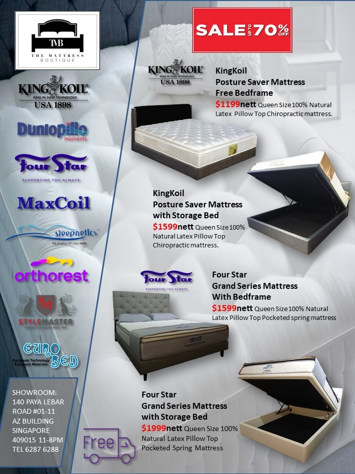 Kingkoil Fourstar Queen Natural Latex Mattress Bedframe