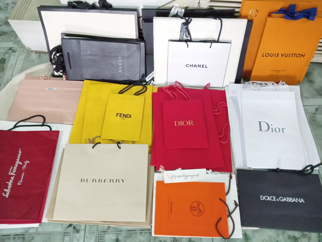 8fa848300e95 LV Chanel Prada Hermes Gucci Dior Paperbag Branded Authentic Paper bag,  Luxury, Bags & Wallets on Carousell