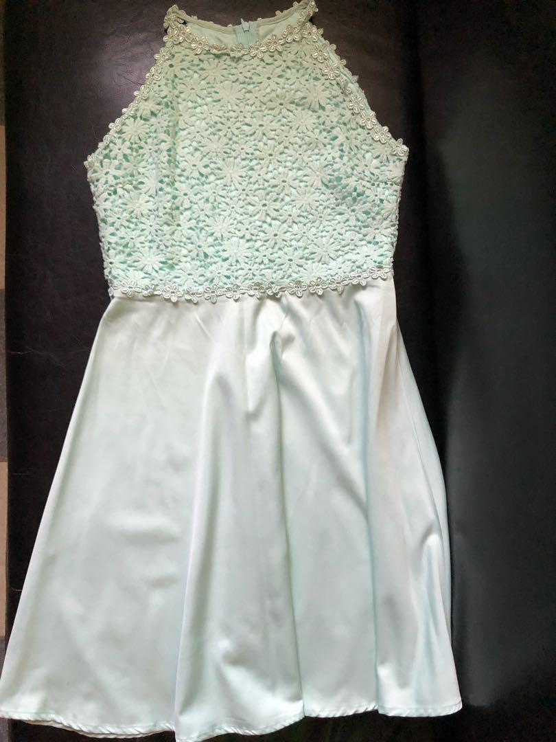 Mint Green Semi Formal Halter Dress e4e0d94a4