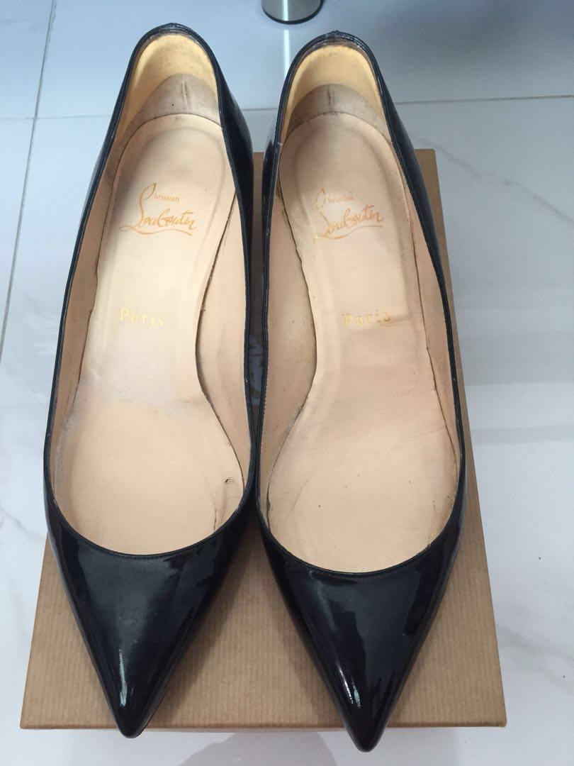 best sneakers 867aa aee87 Preloved Christian louboutin black patent leather heels