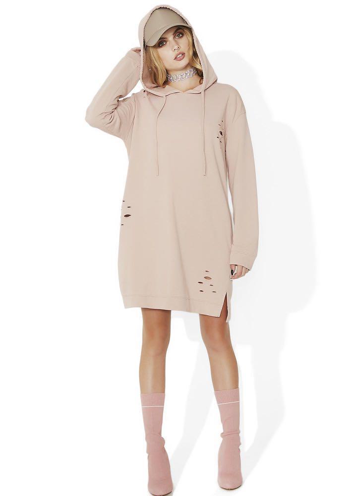 Ride Or Die Distressed Blush Pink Nude Hoodie Dress / Jacket Vintage Streetwear Dollskill