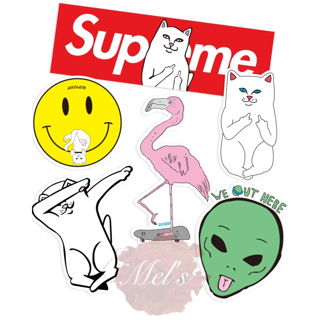 Ripndip Tumblr Luggage Stickers Lord Nermal Middle Finger Cat Lord