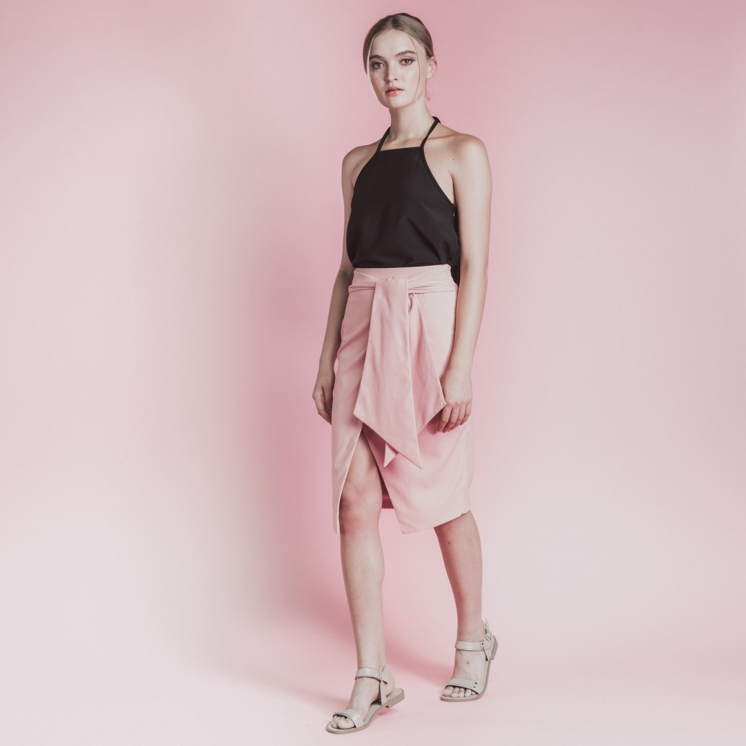 032ec7f32df3c Soigne The Label Wrap   Tie Front Skirt