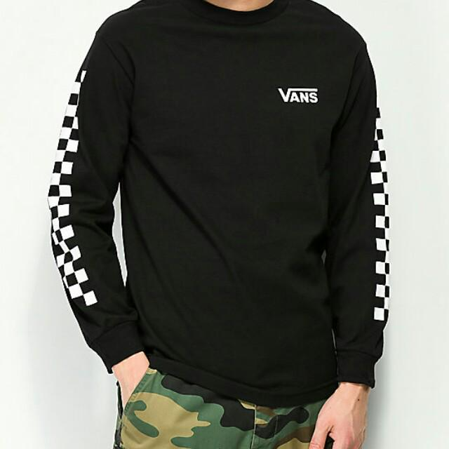 7e30c1408 Vans Checker Side Stripe Black Long Sleeve T-Shirt, Men's Fashion ...