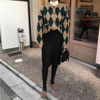 韓國 綠色 卡其 菱格紋 格紋 毛衣 外套 針織 拼色 秋冬 上衣