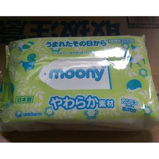 ✨日本製 嬌聯moony 嬰幼兒柔膚薄款濕紙巾 80枚✨