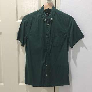 H&M Green Short Sleeve Shirt Regular Fit XS