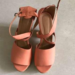 Women Sharp orange high heel shoes scandals 女裝橙色高跟鞋 涼鞋 large shoes