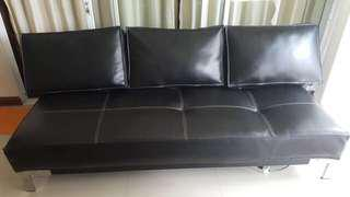 Synthetic leather comfy sofa - black