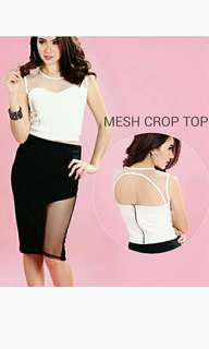 NEW! MESH BUSTIER WHITE WEDGES