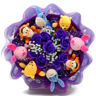Winnie the Pooh & Friends Flower Bouquet (Pooh Bear Piglet Tigger Eeyore with Purple Soap Rose Bouquet)