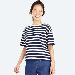 🚚 UNIQLO 粗紡條紋圓領T恤(短袖)
